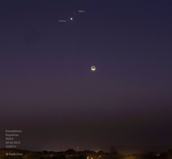 Rajib Maji caught the February 20 planets and moon from India.