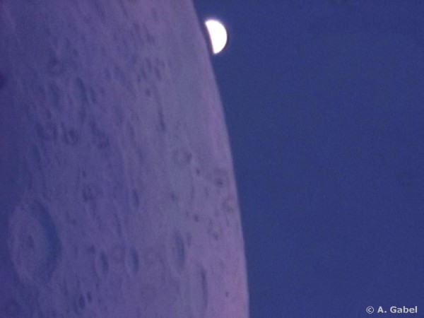 Close-up of the June 17, 2007 occultation of planet Venus by the moon.  Photo by Alfons Gabel.