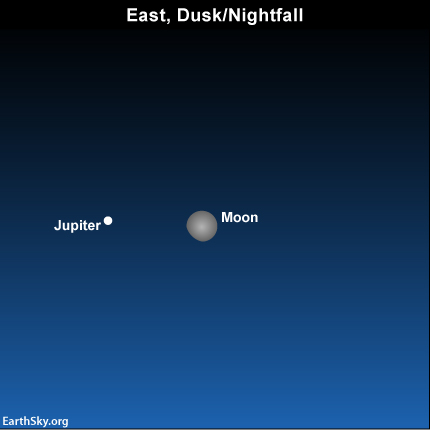 In early March, look for the moon near Jupiter.
