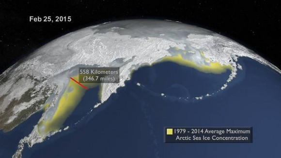 Here the 2015 maximum is compared to the 1979-2014 average maximum shown in yellow. A distance indicator shows the difference between the two in the Sea of Okhotsk north of Japan. Image via NASA's Goddard Space Flight Center