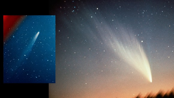 Comet with wide, long tail and inset of smaller comet with a long narrow tail.