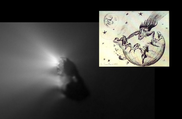 Irregular glowing patch with inset cartoon of human-shaped comet tearing Earth apart.