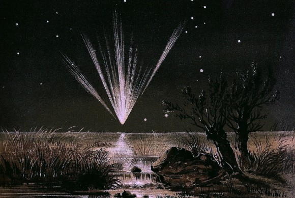 Painting of comet with many tails in a fan shape in a starry sky.