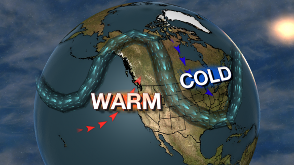 Jet stream orientation was one reason as to why the Arctic Sea Ice was small this winter. Image Credit: WSI/MAX