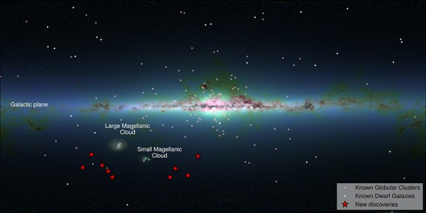 View larger.   Here's an Infrared map of our Milky Way galaxy, produced by the 2MASS survey.  The 9 new galaxies are marked in red.  Image via S. Koposov, V. Belokurov (IoA, Cambridge) and 2MASS.