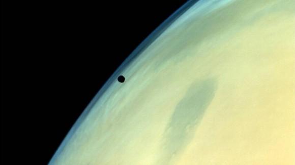 One of Mars' tiny moons, Phobos, imaged by ISRO's Mars Orbiter Mission. Image credit: ISRO