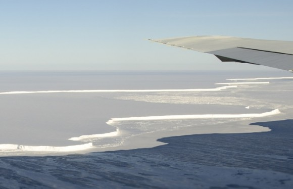 Antarctica's Brunt Ice Shelf photographed in October 2011 from NASA's DC-8 research aircraft during an Operation IceBridge flight. Michael Studinger/NASA