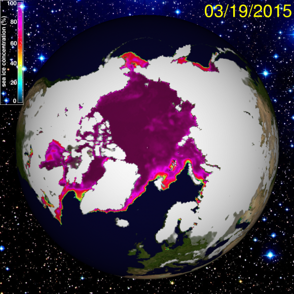 Sea ice extent across the Arctic on March 19, 2015. Credit: Department of Illinois at Urbana-Champaigne Polar Research Group