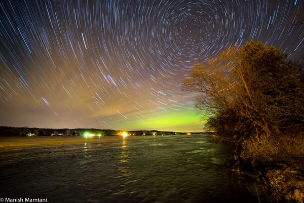 Manish Mamtani Photography at Long Lake Recreation Area in Wisconsin posted this wonderful shot of the March 17 aurora.  He wrote,