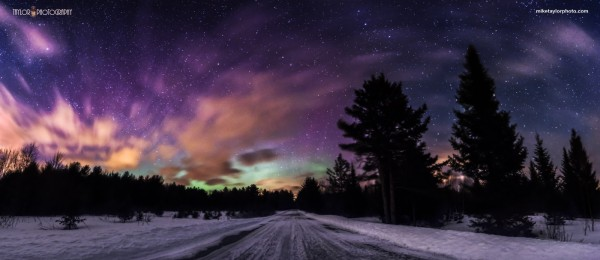 Mike Taylor Photo created this 5-image panorama of the March 17 aurora, taken around 10 p.m. in central Maine.