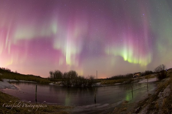 Our friend Colin Chatfield said he captured this shot around 3 a.m. on March 17, just east of Saskatoon, SK, Canada.  Visit Colin Chatfield Photographics on Facebook.