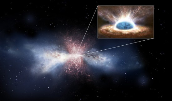 Artist's concept of a supermassive black hole at the center of a galaxy, causing winds that blow away the materials needed for star formation.  Image via ESA.