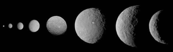 Here's a cool composite image, also created by Emily Lakdawalla, showing Ceres as Dawn approached it.