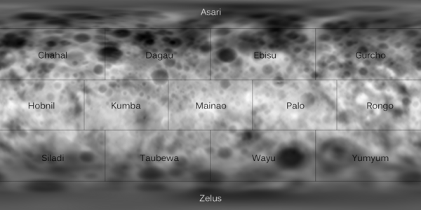 View larger. | Topographic map of Ceres, with quad names.  Emily Lakdawalla of the Planetary Society created this image.  She applied quad names - announced last week at the Lunar and Planetary Science Conference in Houston - to a digital elevation model of Ceres.  The crater with the bright feature is right on the boundary between the Palo and Ebisu quads.  NASA / JPL / UCLA / MPS / DLR / IDA / JohnVV / Emily Lakdawalla