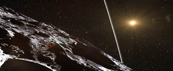 This isn't Chiron.  It's an artist's impression of the remote asteroid Chariklo, which was discovered a year ago to have two dense and narrow rings.  Now Chiron might have rings, too.  If so, it'll be the 6th body in our solar system known to have a ring system.  Image via ESO