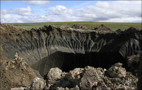 B1 - famous Yamal hole in 30 kilometres from Bovanenkovo, spotted in 2014 by helicopter pilots. Pictures: Marya Zulinova, Yamal regional government's press service, via Siberian Times