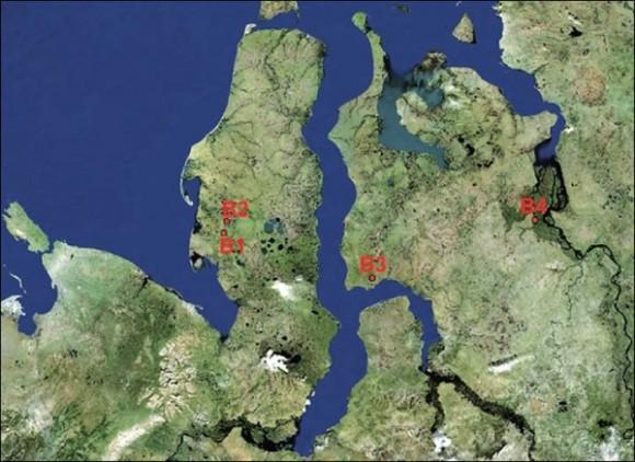 Four arctic craters: B1 - famous Yamal hole in 30 kilometres from Bovanenkovo, B2 - recently detected crater in 10 kilometres to the south from Bovanenkovo, B3 - crater located in 90 kilometres from Antipayuta village, B4 - crater located near Nosok village, on the north of Krasnoyarsk region, near Taimyr Peninsula.  Image by Vasily Bogoyavlensky via Siberian Times.