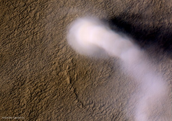 Towering dust devil on Mars
