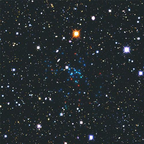 Newly discovered Milky Way satellite Pictoris-1.  Image via V. Belokurov, S. Koposov (IoA, Cambridge).