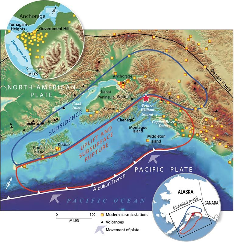 Map in bright colors of Alaska south coast, with uplift and subsidence areas outlined.