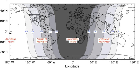 View larger. Note the narrow band on the Earth's surface labeled U3. In North America, This is where the totally eclipsed moon is setting at sunrise on April 4. In Asia, this is where the totally eclipsed moon is rising at sunset April 4. Image credit: Eclipse map/figure/table/predictions courtesy of Fred Espenak, NASA/Goddard Space Flight Center.