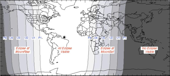 View larger. Note the narrow band on the Earth's surface labeled U2 to U3. In the extreme northwestern corner of North America, this is where the totally eclipsed moon is rising at sunset on September 27. In Russia, the Middle East and far eastern Africa, this is where the totally eclipsed moon is setting at sunrise September 28. If you're positioned along this U2-U3 swath, you might see the totally eclipsed moon and the sun together in the same sky. Image courtesy of the NASA Eclipse Web Site