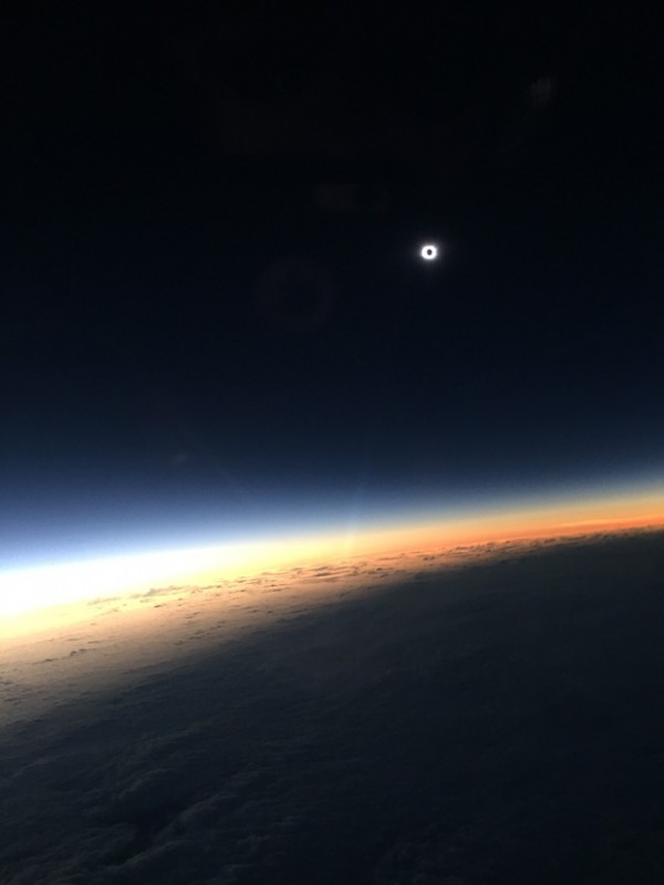 March 20, 2015 total solar eclipse, seen from an airplane - 35,000 feet up - and captured by Eric Recurt of the UK.
