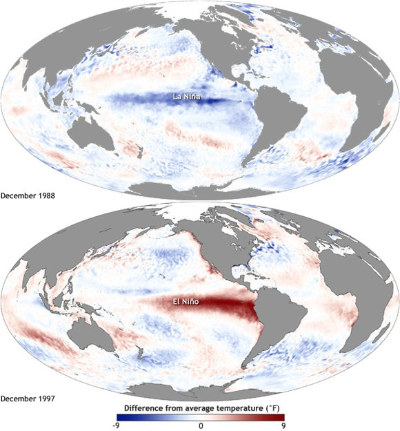 Sea surface temperature patterns in the Pacific Ocean during El Nino (warm) and La Nina (cold) events. Image Credit: NOAA.
