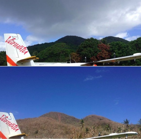 The same spot on the island of Emae before and after cyclone Pam.  Photo credit:  William Dyer