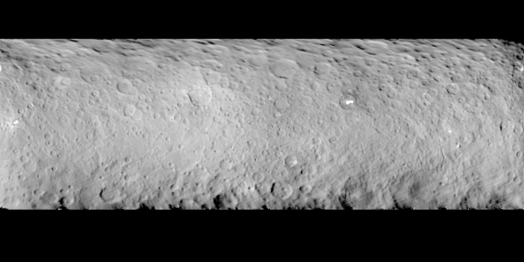 Exploded map of Ceres showing bright spots. Image credit: NASA