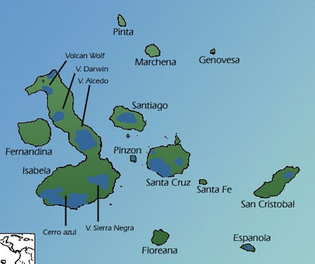 Blue colors show the distribution of tortoises on the Galapagos Islands. Image Credit: Minglex via Wikimedia.