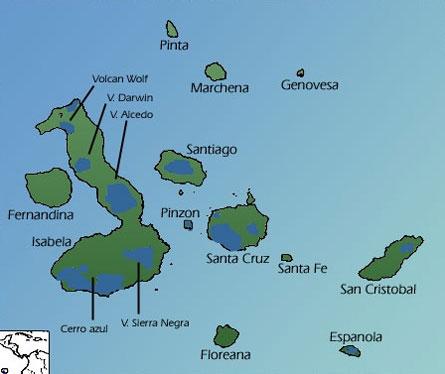 Blue colors show the distribution of tortoises on the Galapagos Islands. Image Credit: Minglex via Wikimedia.
