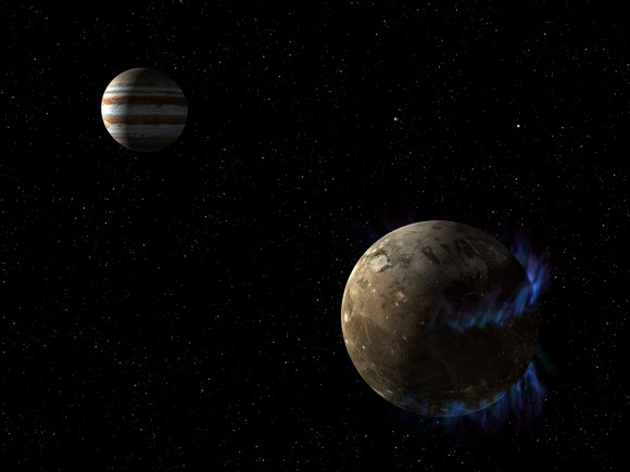 This is an artist's concept of the moon Ganymede as it orbits the giant planet Jupiter.  Image credit: NASA/ESA/G. Bacon