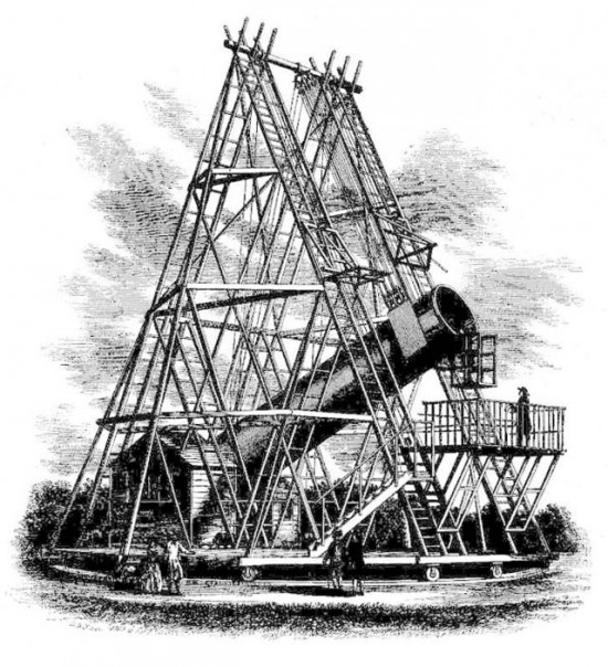 Drawing of a large telescope, with a huge wooden framework around it.