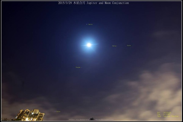 Moon and Jupiter as seen on March 29 by our friend Matthew Chin in Hong Kong.