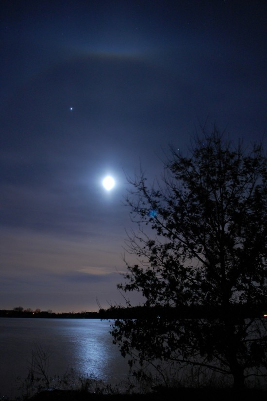 Moon and Jupiter Sunday night, March 29, from Randy Baranczyk in St. Paul, Minnesota.