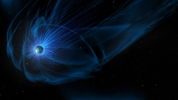 A giant magnetic bubble, called the magnetosphere, surrounds Earth. NASA's Magnetospheric Multiscale, or MMS, mission, studies how a phenomenon called magnetic reconnection allows energy and particles from the sun to funnel inside the magnetosphere, into near-Earth space.  Image credit: NASA/Goddard/Conceptual Image Lab