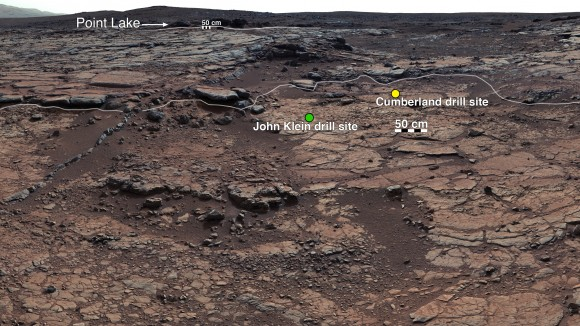 This mosaic of images from Curiosity's Mast Camera (Mastcam) shows geological members of the Yellowknife Bay formation, and the sites where Curiosity drilled at targets John Klein and Cumberland. Image credit: NASA/JPL-Caltech/MSSS