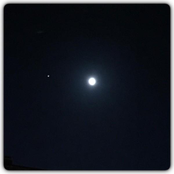 Moon and Jupiter on March 2, 2014 from Birgitta Johansson in Hudiksvall, Sweden.