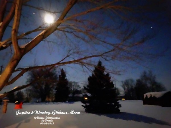 Moon and Jupiter on March 2 from Brenda Pearson in North Benton, Ohio.
