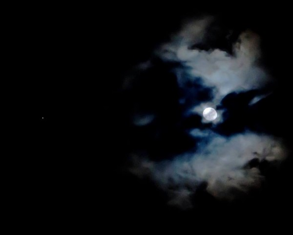 Moon and Jupiter on March 2 over North Carolina, from Ken Christison.