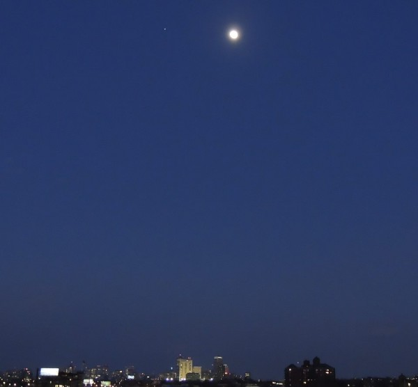 Moon and Jupiter on March 2 over Boston, by Walter Pierce.