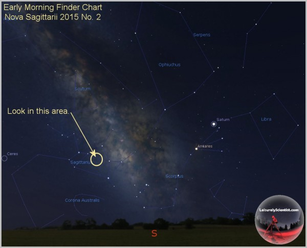 View larger.   Finder chart for Nova Sagittarii via Tom Wildoner.