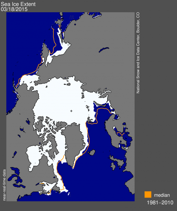 Sea Ice extent for March 2015. Image Credit: National Snow & Ice Data Center