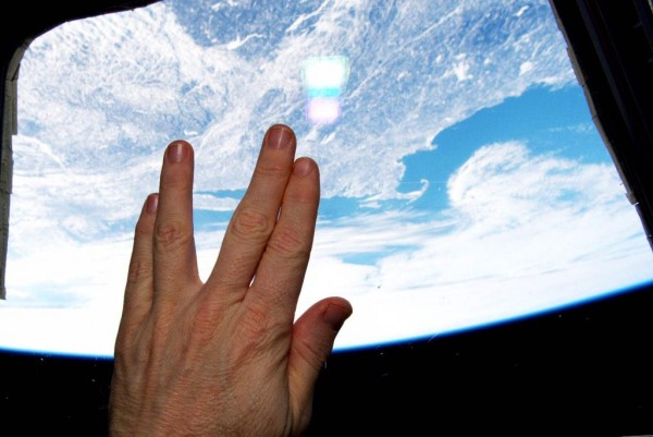 What better tribute?  Terry Virts in the International Space Station gives the vulcan salute.