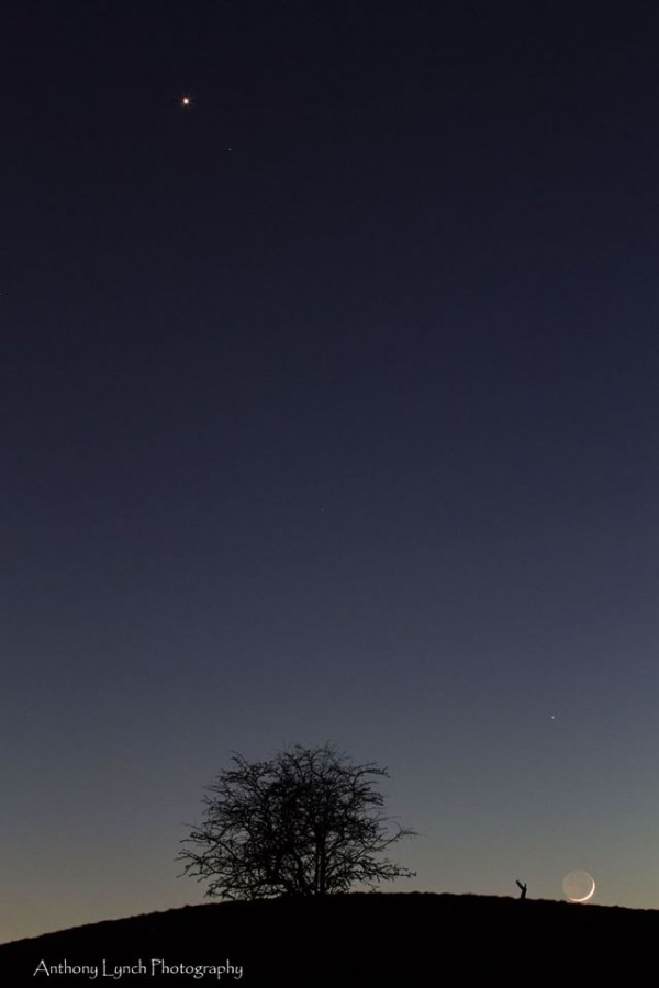 Venus (top of photo) and the moon (Mars had already set) from Dublin, Ireland by Anthony Lynch Photography.  Thanks, Anthony!