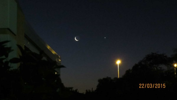 Brian Tribelhorn near Cape Town, South Africa saw the moon and Venus nearly side by side on March 22, 2015.  Thanks for posting, Brian!