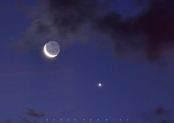 Venus and moon March 22, 215 from Edmar Fermino in Brazil.