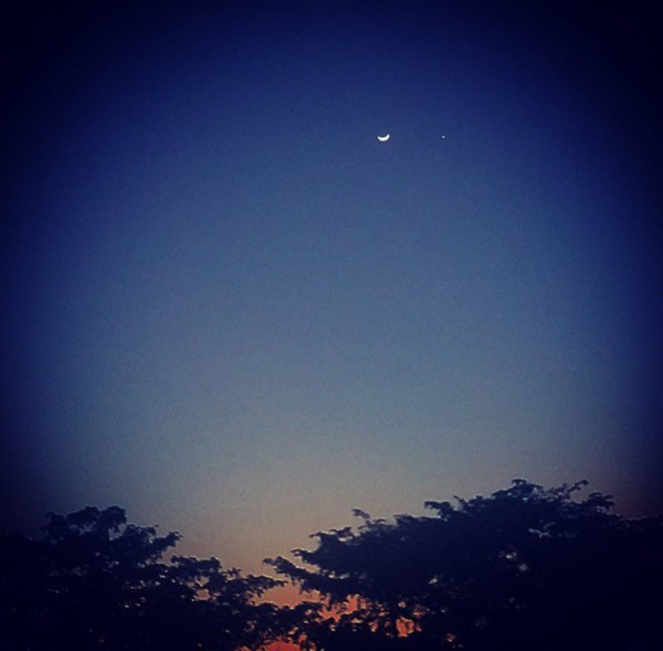 We loved this simple shot (mobile phone?) from Jay Alex in Florida, of the March 22 moon and Venus.