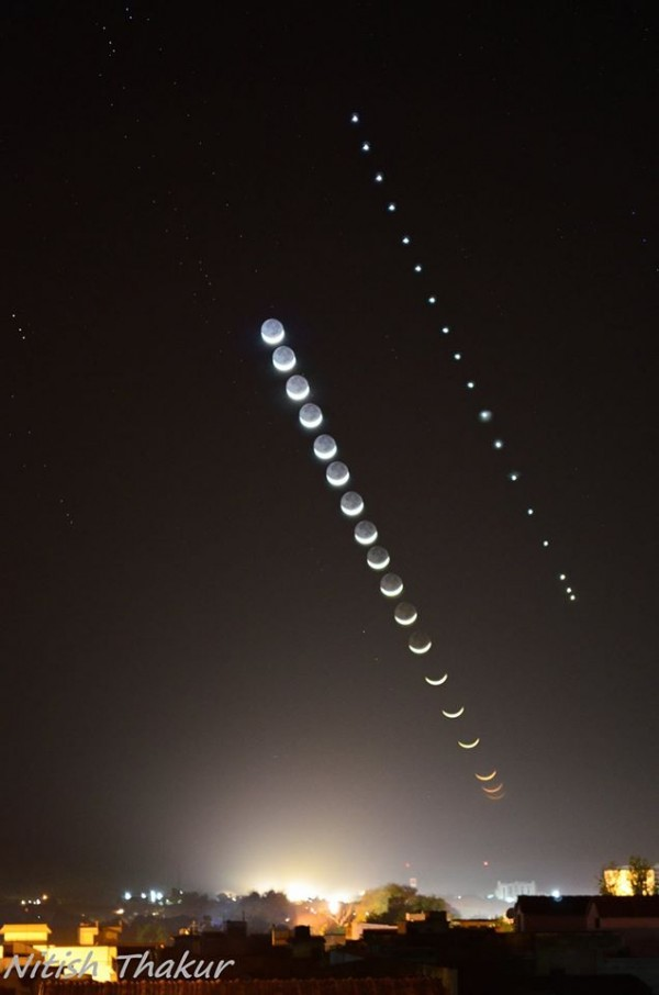 Nitish Thakur in Jhansi, India created this beautiful timelapse of the moon and Venus on March 22, 2015.